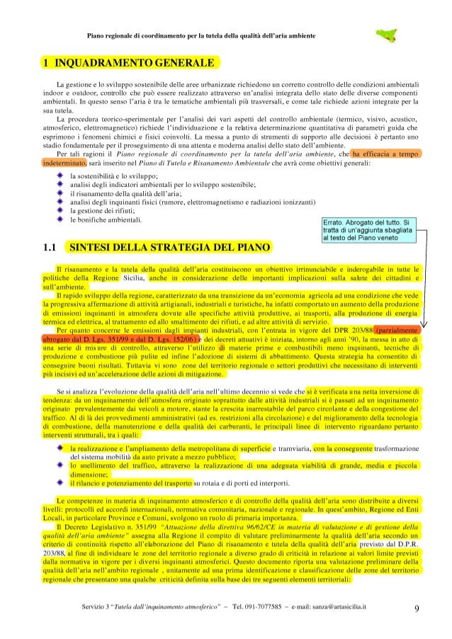 Piano regionale di coordinamento per la tutela della qualità dell'aria ambiente  Tabella 1.1 – Popolazione residente per s...