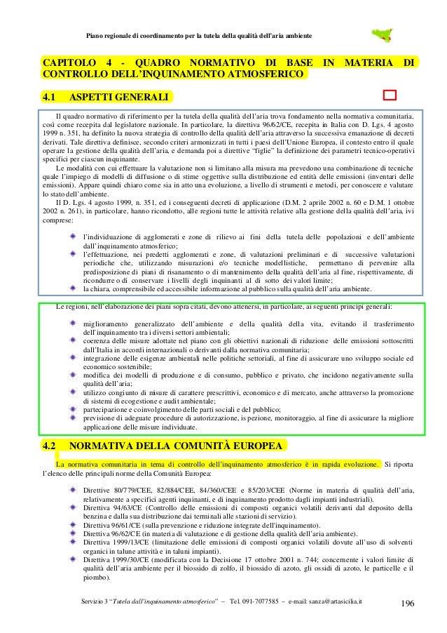 Piano regionale di coordinamento per la tutela della qualità dell'aria ambiente  CAPITOLO 4 - QUADRO NORMATIVO DI BASE IN ...