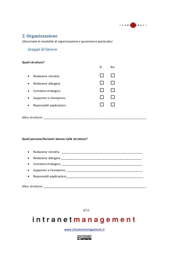 Piano di lavoro per progetti intranet Slide 2