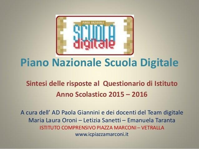 Piano Nazionale Scuola Digitale Sintesi delle risposte al Questionario di Istituto Anno Scolastico 2015 – 2016 A cura dell...