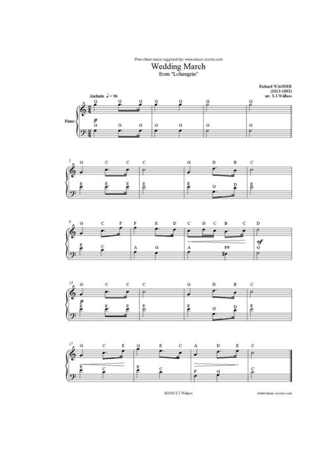 "Free SÏNRI «muxa 514;. ' 19:1' t-y:  Mnw-. 'vr: .:: c-. 'car. =:4:um  Wedding March  from ""Lohengxín""  Richard WAGNER (181..."