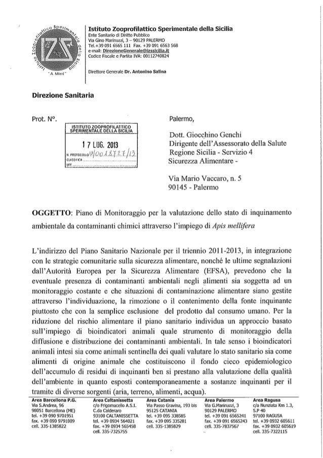 Istituto Zooprofilattico Sperimentale della Sicilia Ente Sanitario di Diritto Pubblico Via Gino Marinuzzi, 3 – 90129 PALER...