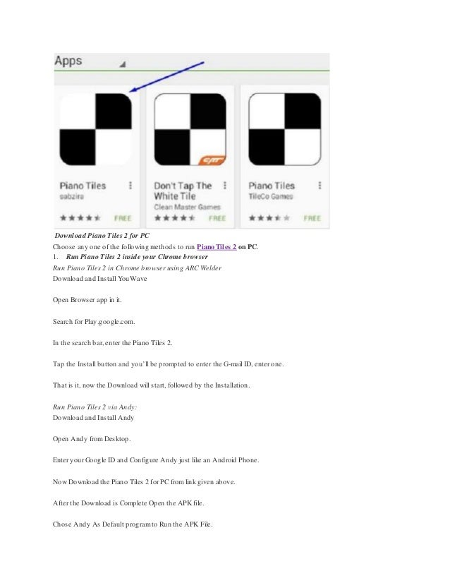 Piano tiles 2 for pc and mac