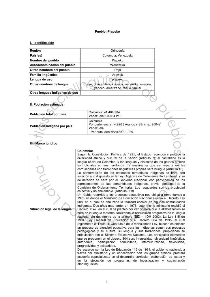 Pueblo: PiapokoI.- IdentificaciónRegión                                                 OrinoquíaPaís(es)                 ...