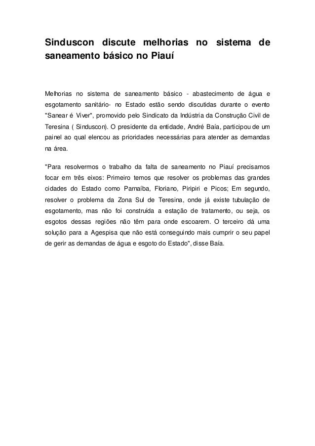 Sinduscon discute melhorias no sistema de saneamento básico no Piauí Melhorias no sistema de saneamento básico - abastecim...