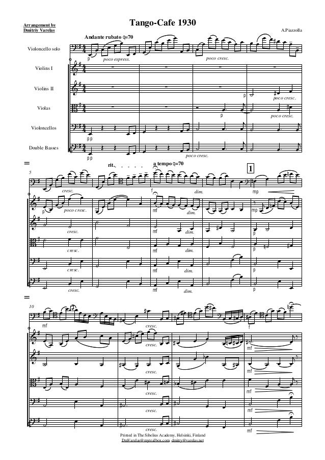        Arrangement by Dmitriy Varelas Andante rubato q=70 Tango-Cafe 1930 A.Piazzolla Printed in The Sibelius ...