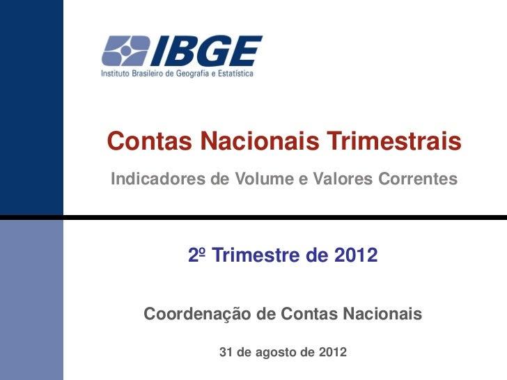 Contas Nacionais TrimestraisIndicadores de Volume e Valores Correntes         2º Trimestre de 2012   Coordenação de Contas...