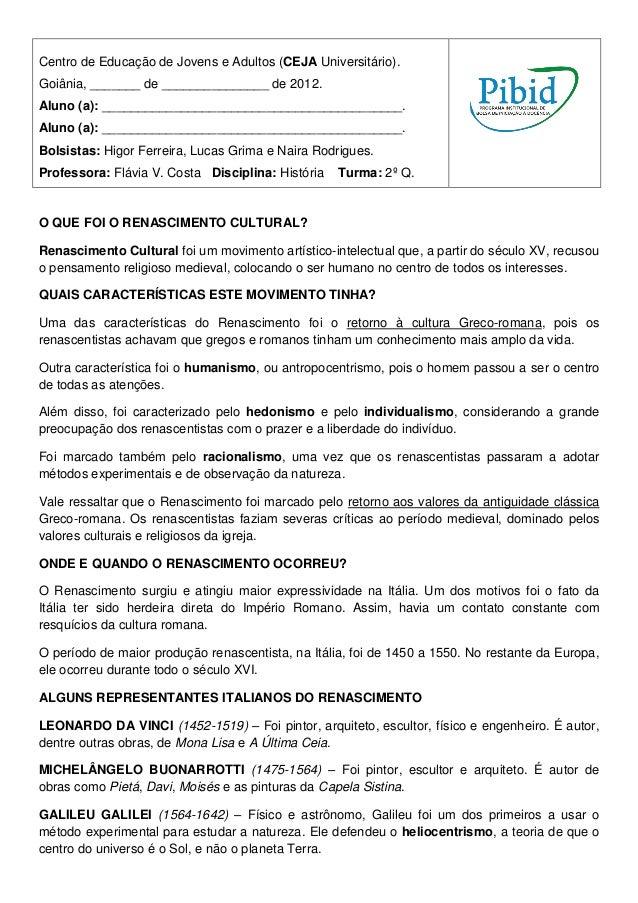 Centro de Educação de Jovens e Adultos (CEJA Universitário).Goiânia, _______ de _______________ de 2012.Aluno (a): _______...