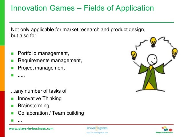 www.plays-in-business.com www.innovationgames.com Innovation Games ‒ Fields of Application Not only applicable for market ...
