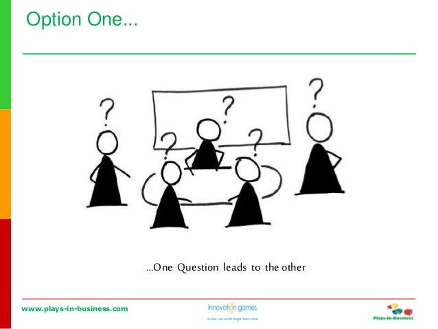 www.plays-in-business.com www.innovationgames.com Option One... …One Question leads to the other