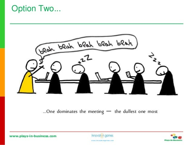 www.plays-in-business.com www.innovationgames.com Option Two... …One dominates the meeting ― the dullest one most