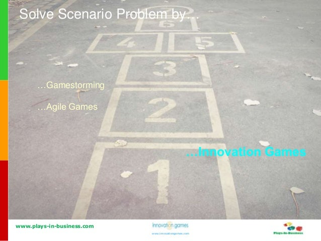 www.plays-in-business.com www.innovationgames.com Solve Scenario Problem by… …Gamestorming …Agile Games …Innovation Games
