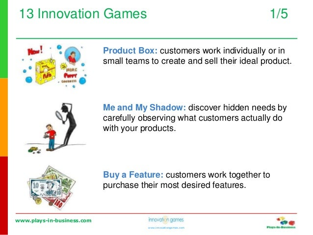 www.plays-in-business.com www.innovationgames.com 13 Innovation Games 1/5 Product Box: customers work individually or in s...