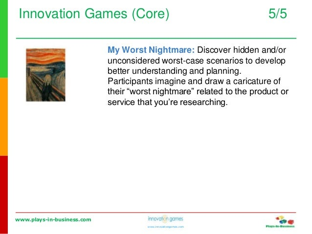www.plays-in-business.com www.innovationgames.com Innovation Games (Core) 5/5 My Worst Nightmare: Discover hidden and/or u...