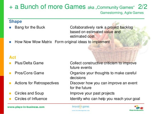 www.plays-in-business.com www.innovationgames.com Shape  Bang for the Buck Collaboratively rank a project backlog based o...