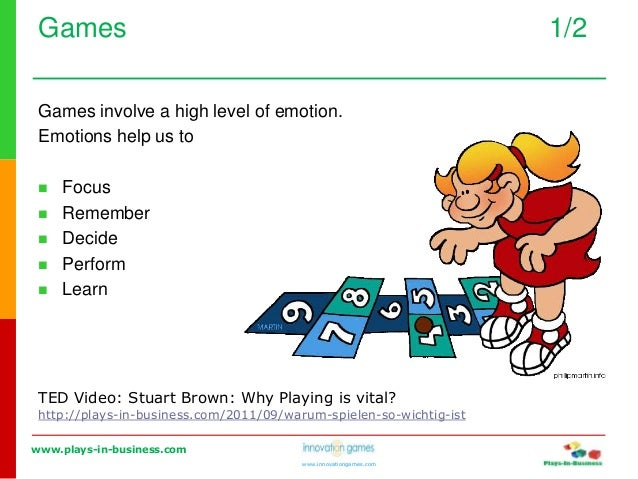 www.plays-in-business.com www.innovationgames.com Games 1/2 Games involve a high level of emotion. Emotions help us to  F...