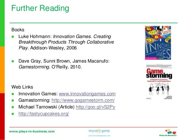 www.plays-in-business.com www.innovationgames.com Books  Luke Hohmann: Innovation Games. Creating Breakthrough Products T...
