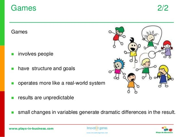 www.plays-in-business.com www.innovationgames.com Games 2/2 Games  involves people  have structure and goals  operates ...