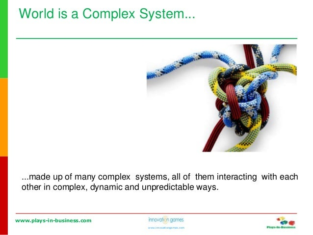 www.plays-in-business.com www.innovationgames.com World is a Complex System... ...made up of many complex systems, all of ...