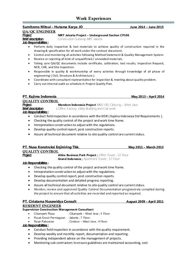 QA QC Engineer CV