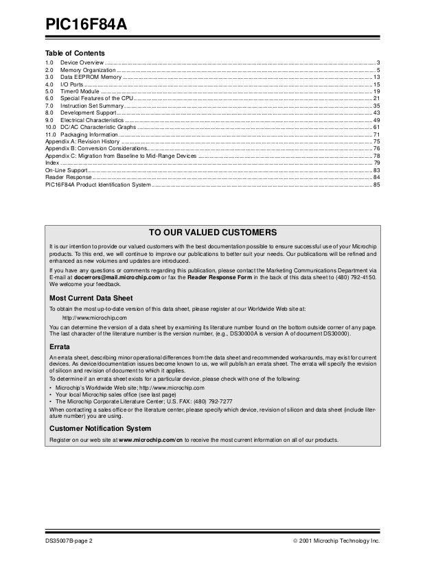 Pdf pic16f84a datasheet