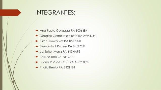 INTEGRANTES:  Ana Paula Gonzaga RA B0066B4  Douglas Carneiro de Brito RA A99JDJ4  Ester Gonçalves RA B517328  Fernando...