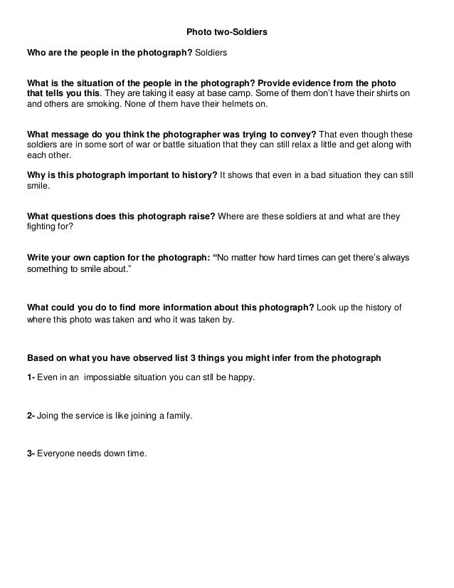 Photo two-Soldiers Who are the people in the photograph? Soldiers What is the situation of the people in the photograph? P...