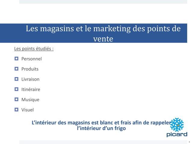 Les magasins et le marketing des points de vente Les points étudiés :  Personnel  Produits  Livraison  Itinéraire  Mu...