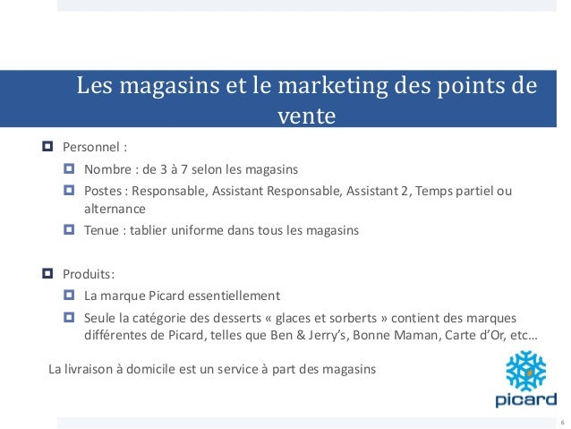 Les magasins et le marketing des points de vente  Personnel :  Nombre : de 3 à 7 selon les magasins  Postes : Responsab...