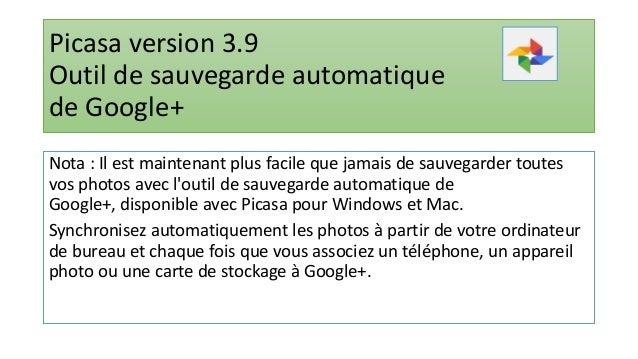 Remarque : • L'outil de sauvegarde de Google+ utilise votre espace de stockage Google Drive et importe par défaut les phot...