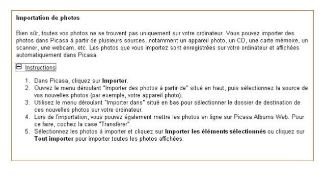 43 Affichage du nom des photos • Par défaut, le nom des photos n'apparaissent pas dans Picasa • Pour faire apparaître les ...
