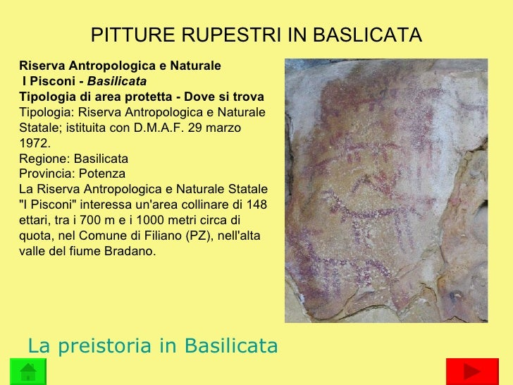 PITTURE RUPESTRI IN BASLICATA Riserva Antropologica e Naturale I Pisconi -  Basilicata  Tipologia di area protetta - Dove ...