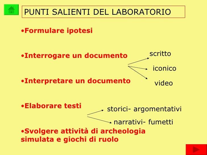 PUNTI SALIENTI DEL LABORATORIO <ul><li>Formulare ipotesi </li></ul><ul><li>Interrogare un documento </li></ul><ul><li>Inte...