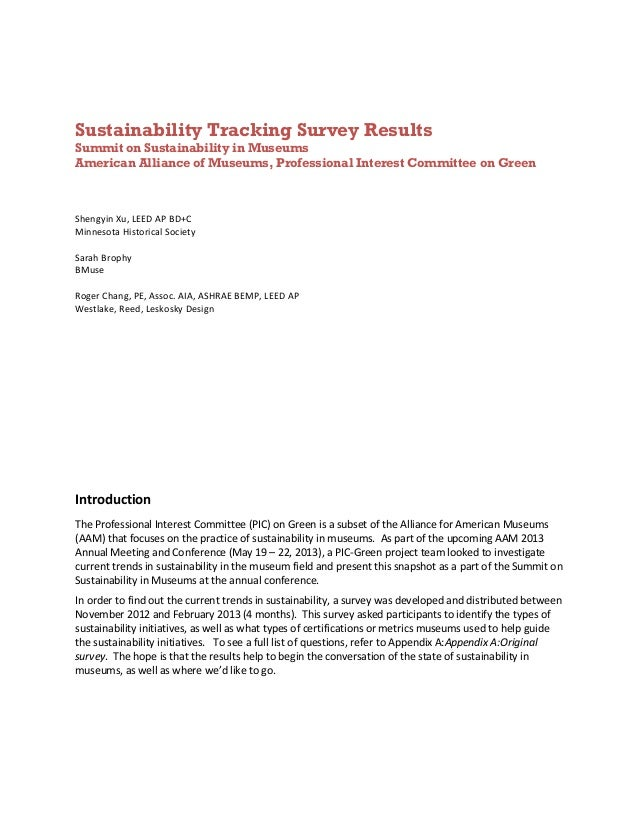 Sustainability Tracking Survey ResultsSummit on Sustainability in MuseumsAmerican Alliance of Museums, Professional Intere...