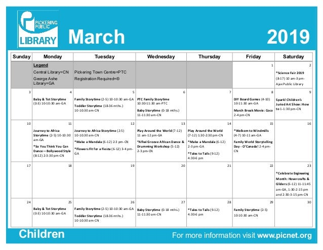 March 2019 For more information visit www.picnet.orgChildren Sunday Monday Tuesday Wednesday Thursday Friday Saturday Lege...