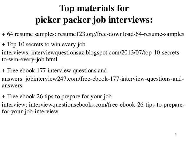 Picker Packer Resume Sample Pdf Ebook