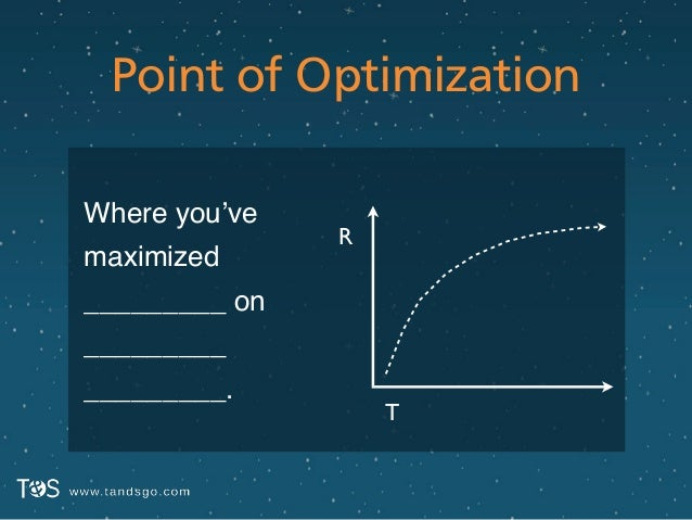 Point of Optimization Where you've maximized _________ _________ _________. R T on
