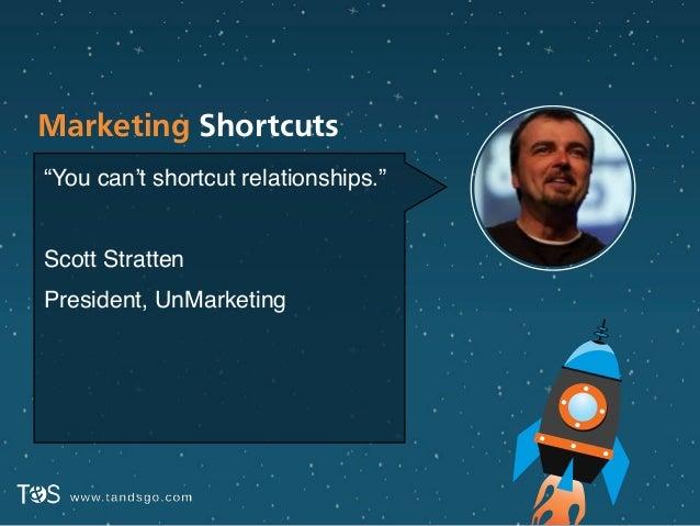 "Marketing Shortcuts ""You can't shortcut relationships.""! ! Scott Stratten! President, UnMarketing"