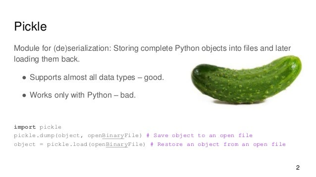 Pickling and CSV