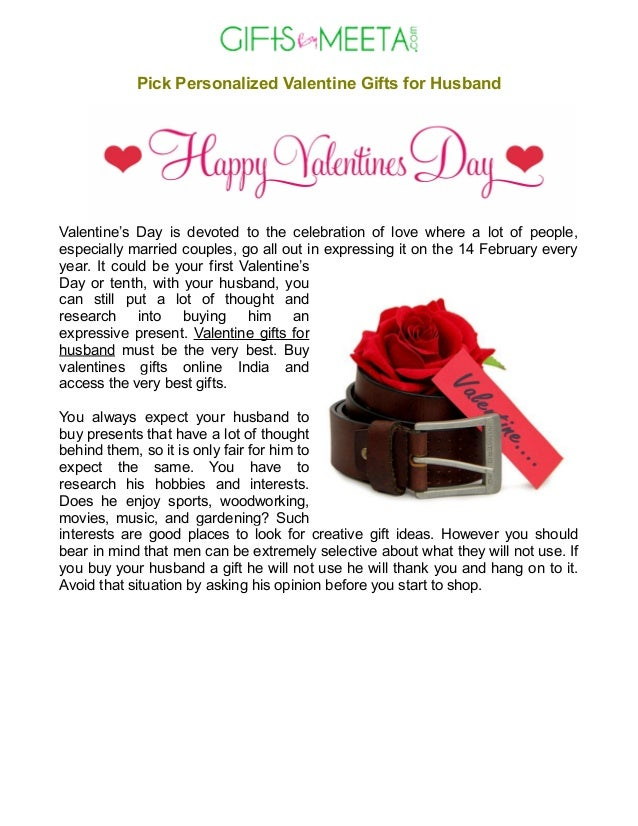 Pick Personalized Valentine Gifts For Husband
