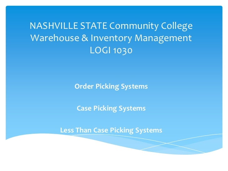 NASHVILLE STATE Community CollegeWarehouse & Inventory Management            LOGI 1030          Order Picking Systems     ...