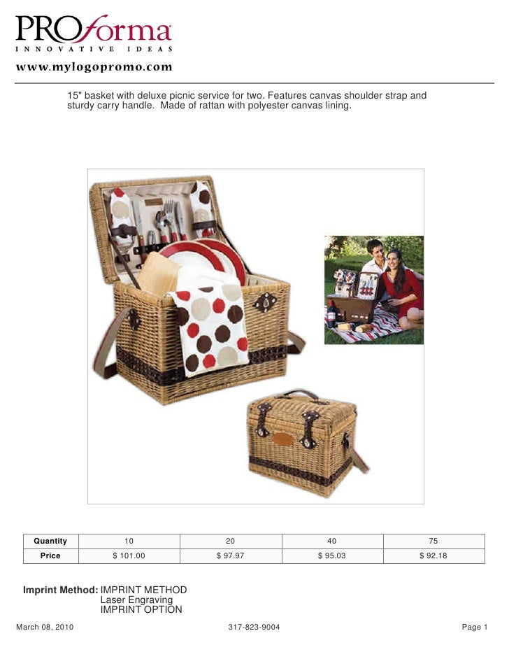 "15"" basket with deluxe picnic service for two. Features canvas shoulder strap and              sturdy carry handle. Made o..."