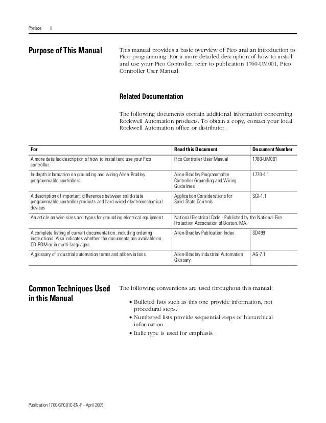allen bradley pico 1760 programming manual