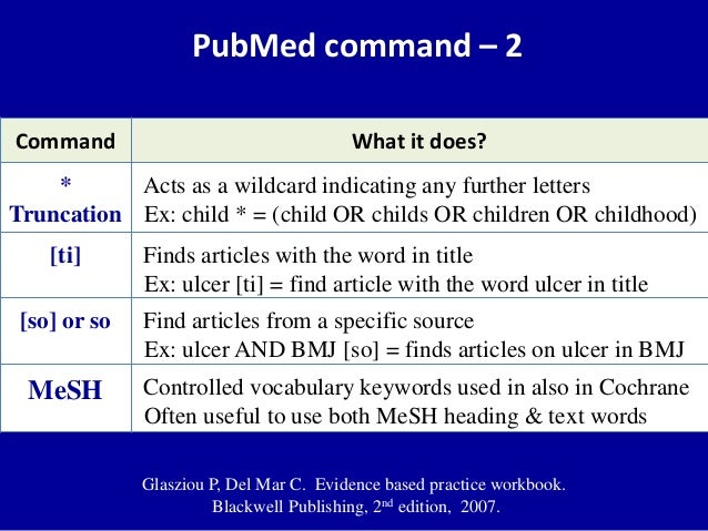 PubMed command – 2 Command What it does? * Truncation Acts as a wildcard indicating any further letters Ex: child * = (chi...