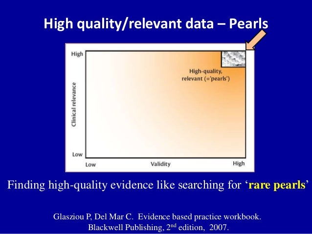High quality/relevant data Pearls If not valid No value If not relevant No value
