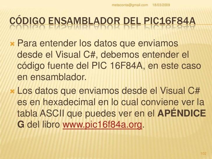 metaconta@gmail.com   18/03/2009     CÓDIGO ENSAMBLADOR DEL PIC16F84A  Si no tienes el libro puedes ver el código ASCII  ...