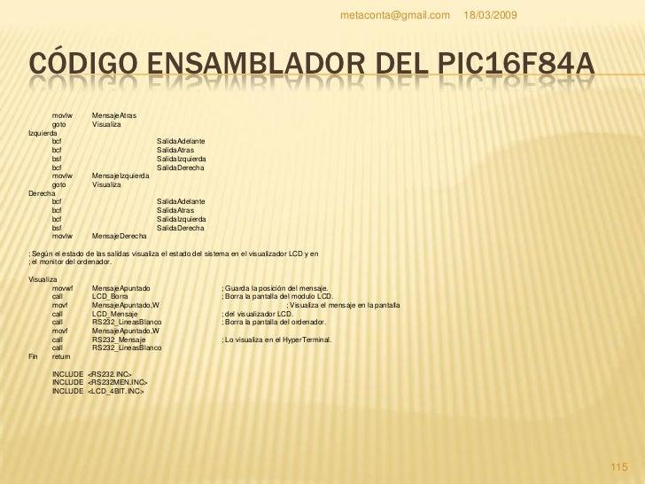 metaconta@gmail.com   18/03/2009     CÓDIGO ENSAMBLADOR DEL PIC16F84A     INCLUDE <LCD_MENS.INC>     INCLUDE <RETARDOS.INC...