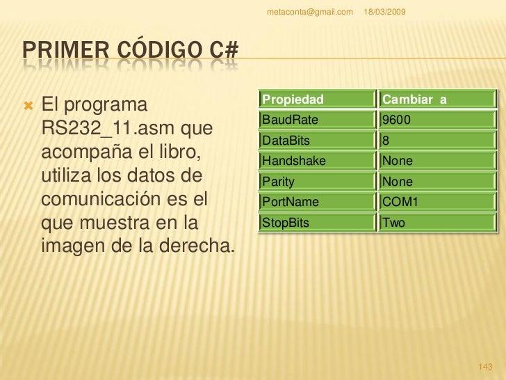 metaconta@gmail.com   18/03/2009     PRIMER CÓDIGO C#  Una vez todo hecho como indica las páginas   anteriores, el código...