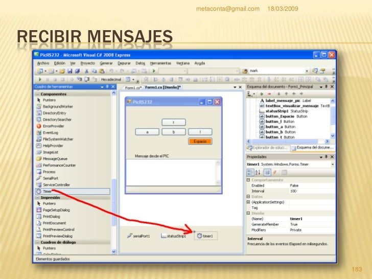 metaconta@gmail.com   18/03/2009     RECIBIR MENSAJES     Vamos a añadir la hora     local de nuestro     Sistema Operati...