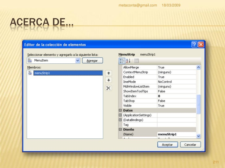 """metaconta@gmail.com   18/03/2009     ACERCA DE…    Pulsa """"Cancelar"""" de la     ventana """"Editor de la     colección de elem..."""